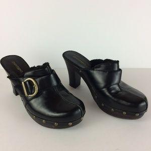 Bongo Vicki Black Buckle Slip On Mule Heels Sz 8.5